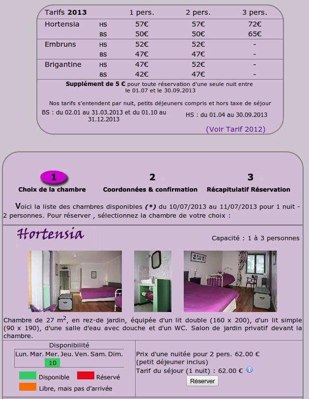 la disponibilité et réservation en ligne d'une chambre d'hôtes audierne