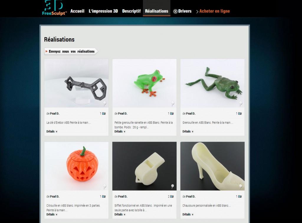 Objets imprimés avec l'imprimante 3D FreeSculpt