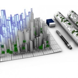 Concept of architectural design of a city emerging from the map
