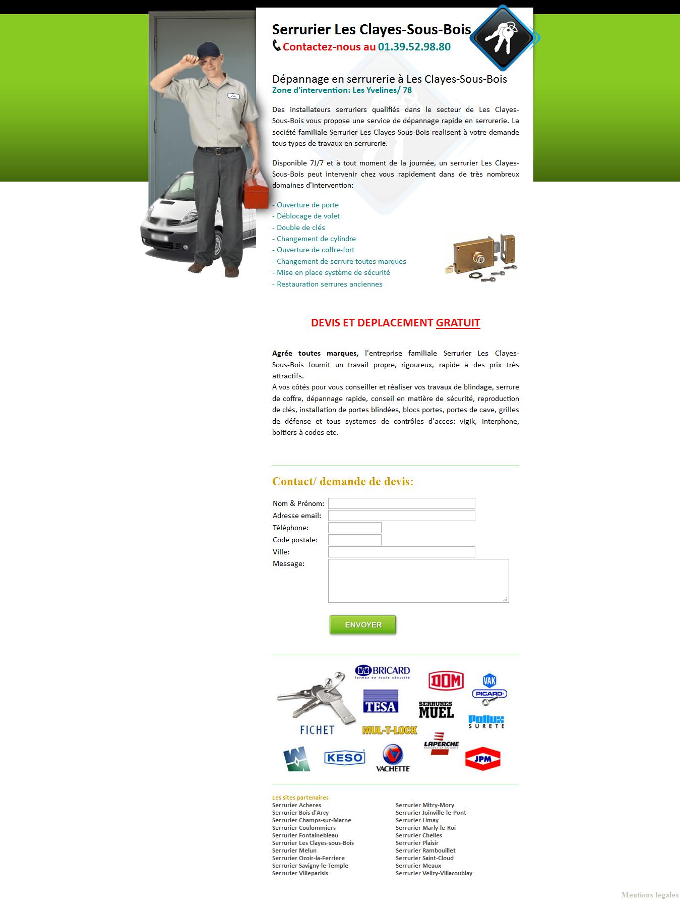 votre agence de serrurerie les clayes sous bois annuaire de site web de qualit creasite. Black Bedroom Furniture Sets. Home Design Ideas